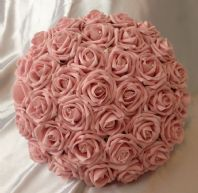 ARTIFICIAL PINK FOAM ROSE BRIDE WEDDING FLOWERS BOUQUET POSIE CRYSTALS